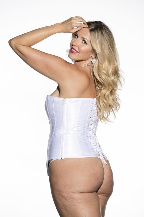 White Satin Sweetheart Corset Plus Size