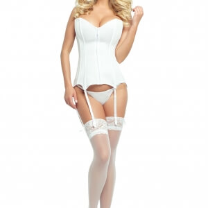Provocative white zip front corset