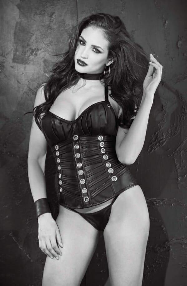 Faux leather eyelet corset
