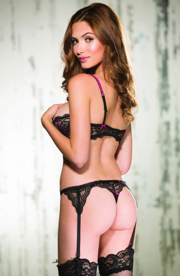 Garter Belt Black & Hot Pink