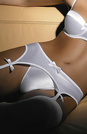 white satin suspender belt