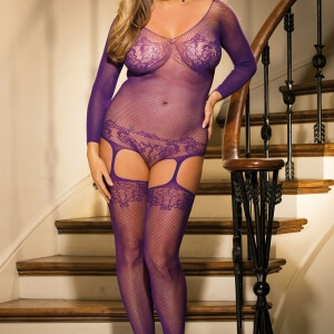 purple plus size bodystocking