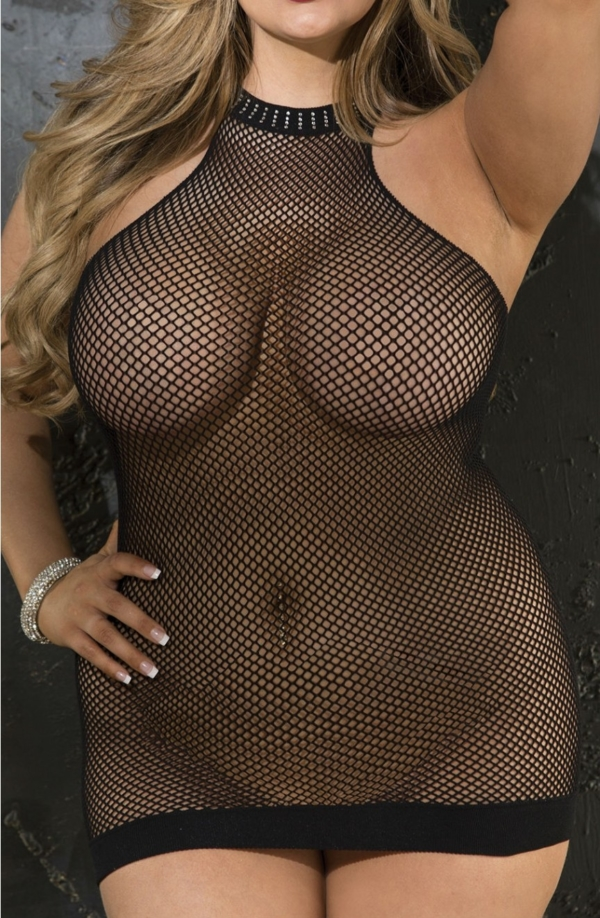 Fishnet Chemise Black Plus Size