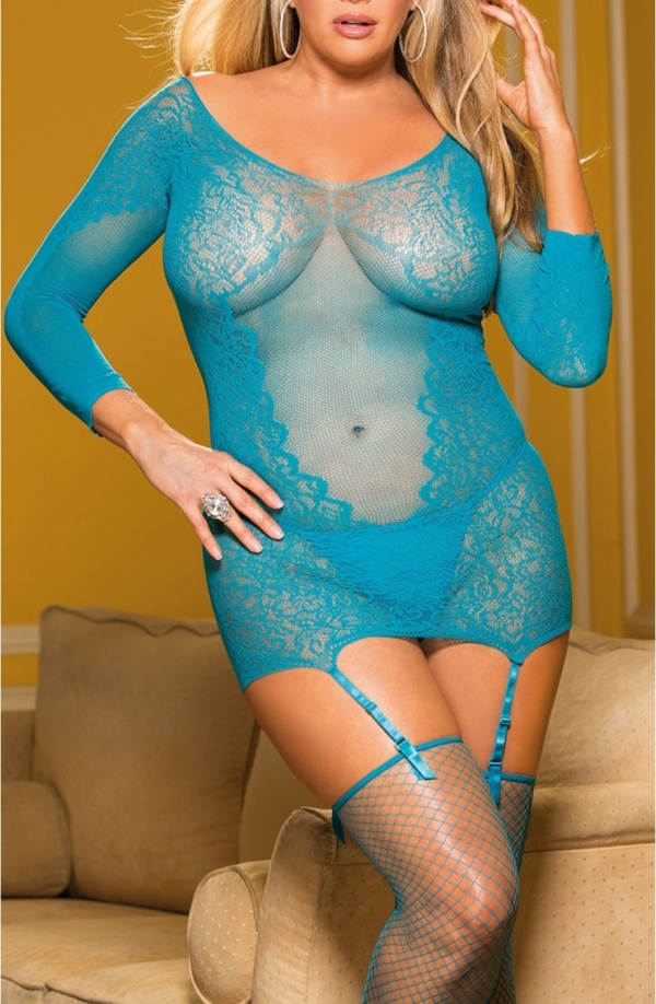 Stretch Lace Chemise Set Turquoise Plus Size