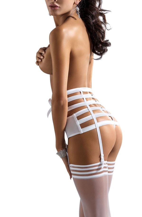 Amorre Suspender Belt White