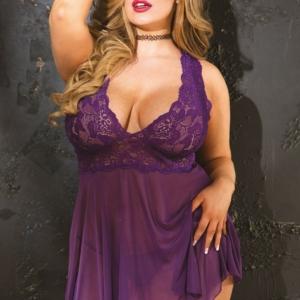 Sheer Lace Uneven Hem Babydoll Purple Plus Size