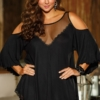 Plus Size Cold Shoulder Lace and Sheer Sleepshirt Black