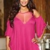 Plus Size Cold Shoulder Lace and Sheer Sleepshirt Magenta