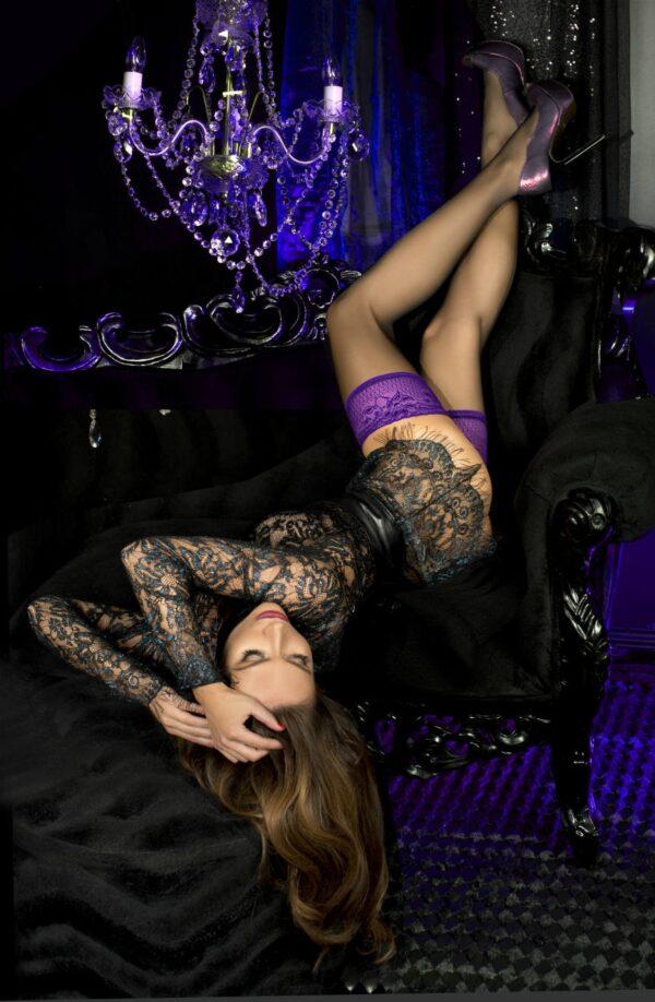 Ballerina 501 Purple Lace Top Hold Ups