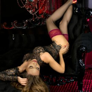 Ballerina 502 Raspberry Lace Top Hold Ups