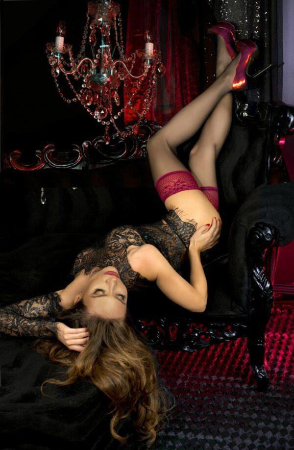 Ballerina 502 Raspberry Lace Top Hold Ups