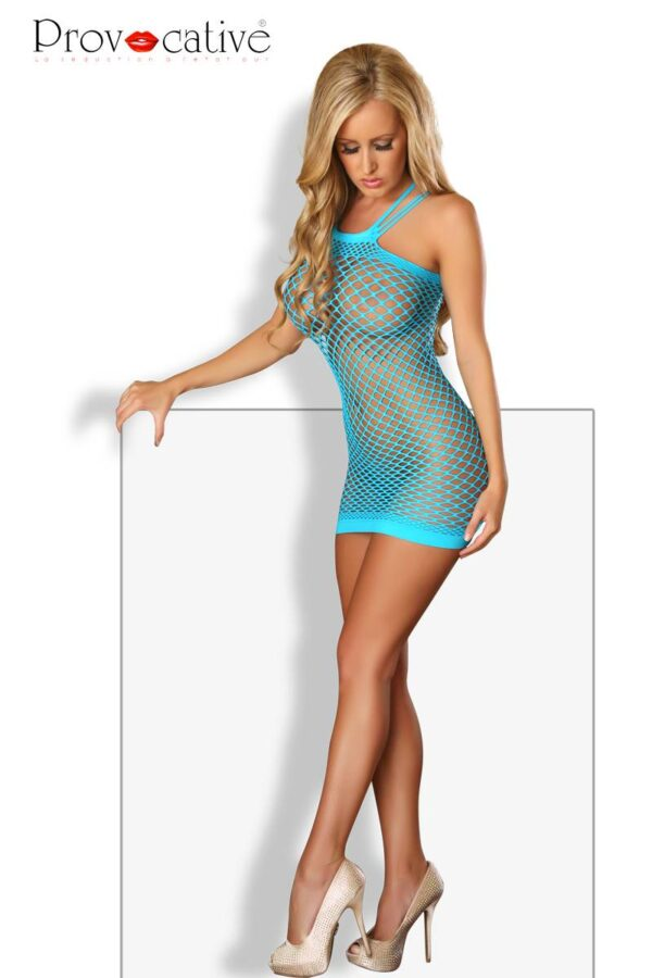 Fishnet Mini Dress Turquoise