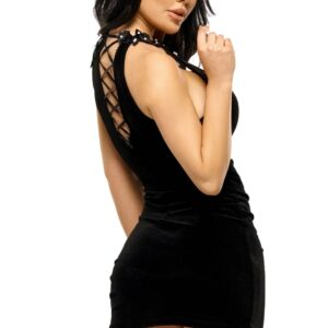 Solange Black Velour Mini Dress