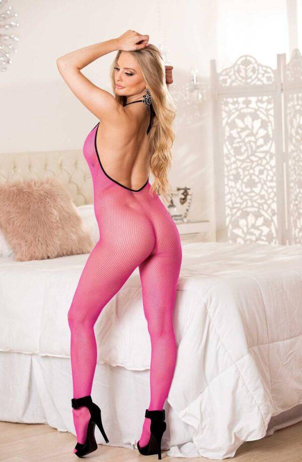 Hot Pink & Black Fishnet & Eyelash Lace Body Stocking