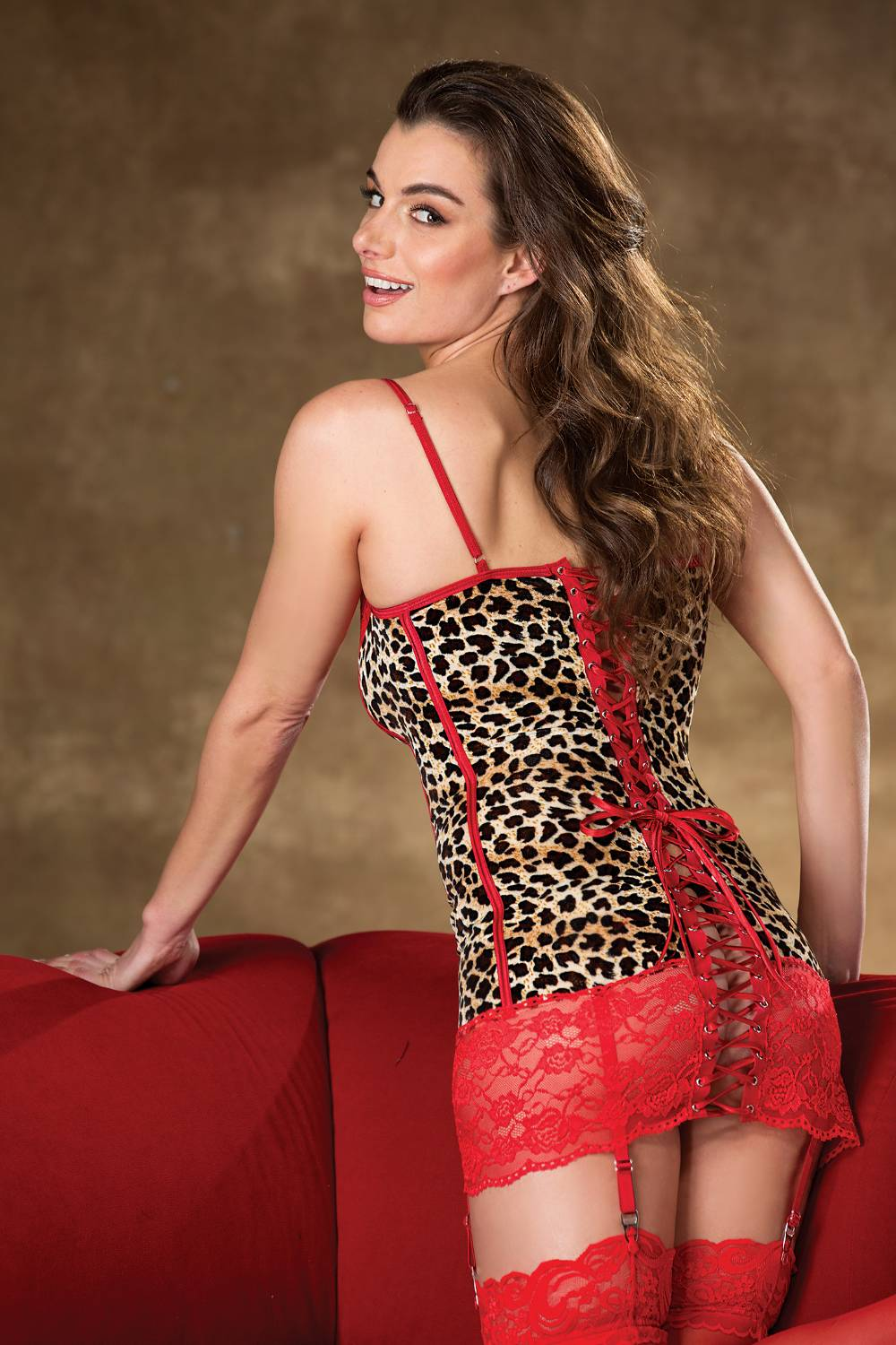 Leopard Mesh & Lace Gartered Chemise