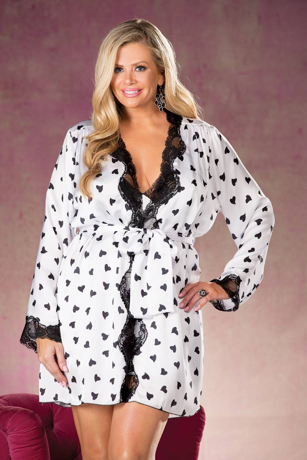 Heart Print & Lace Robe