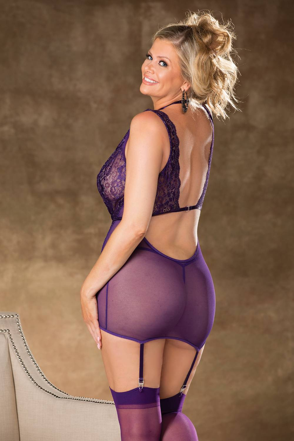 Purple Metallic Lace Chemise & Thong