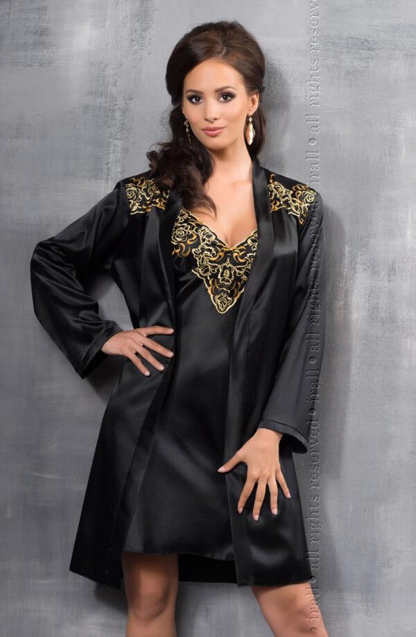 Luna Dressing Gown Black/Gold