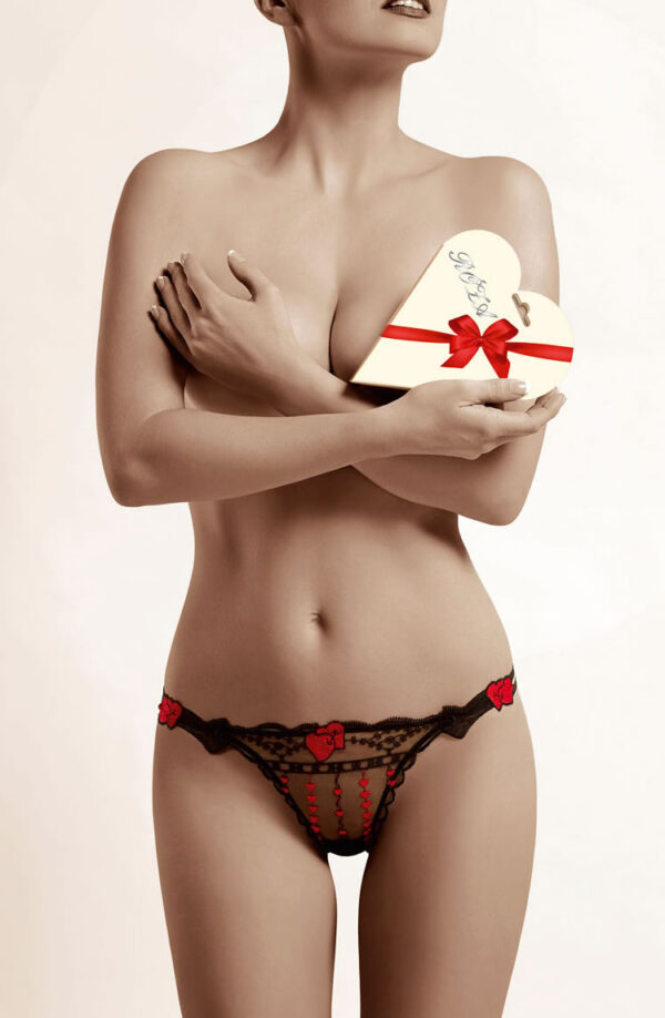 Roza Red Heart Thong