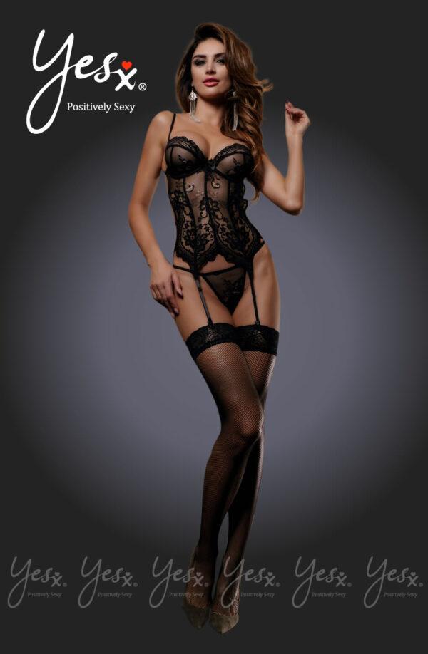 3 pc Lace Corset, Thong & Stockings Black