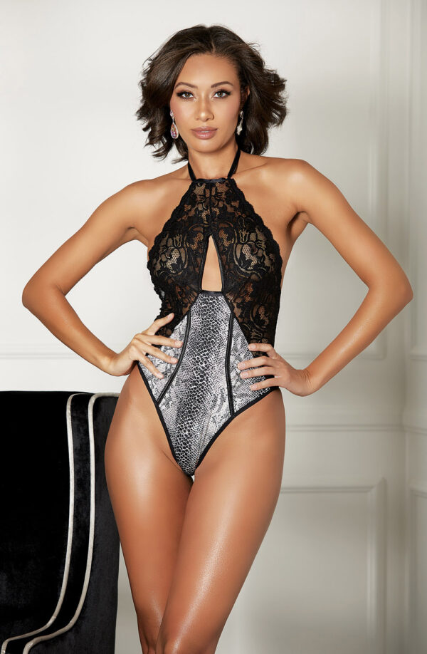 Snake Print & Lace Boned Teddy
