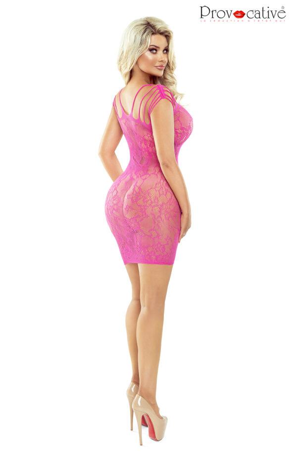 Hot Pink Open Front Criss Cross Lace Dress