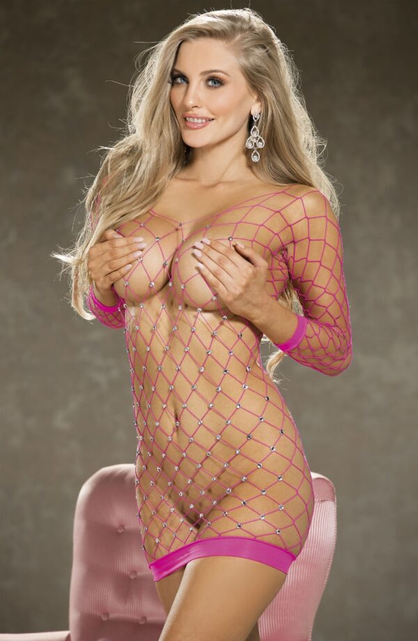 Diamante Fishnet Body Con Dress Pink