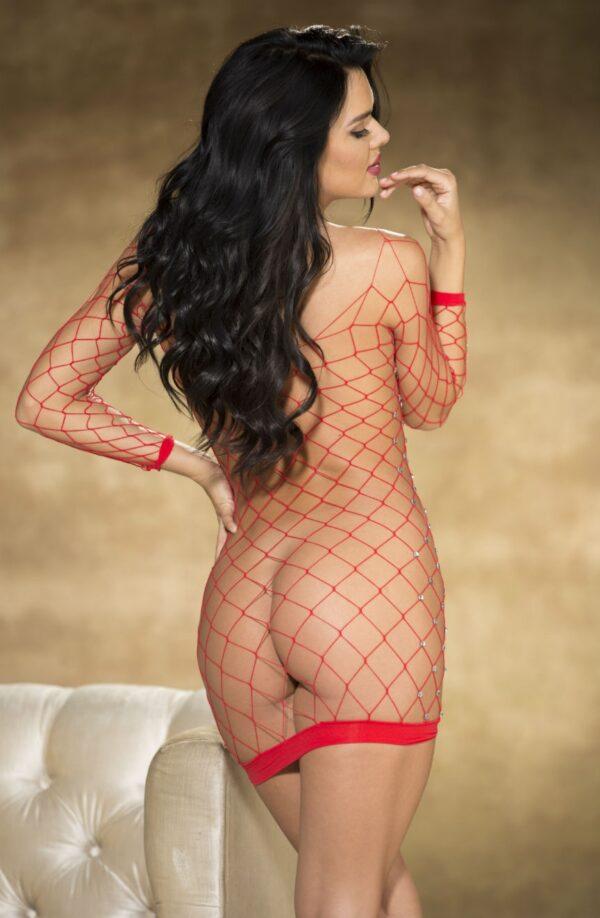 Diamante Fishnet Body Con Dress Red