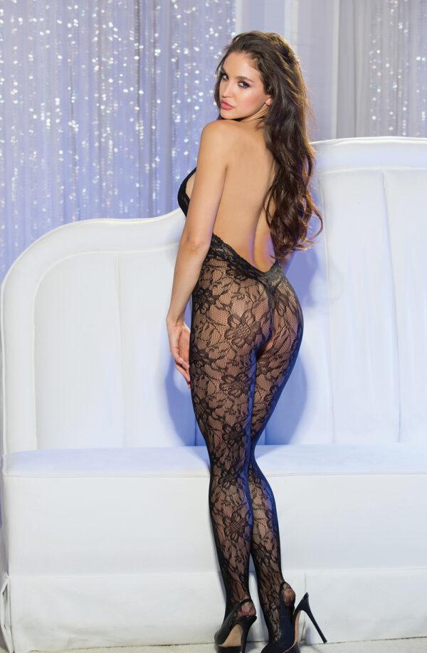 Taylor Halter Neck Black Lace Bodystocking