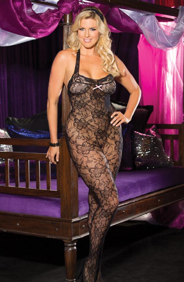 Taylor Halter Neck Black Lace Bodystocking Curves +