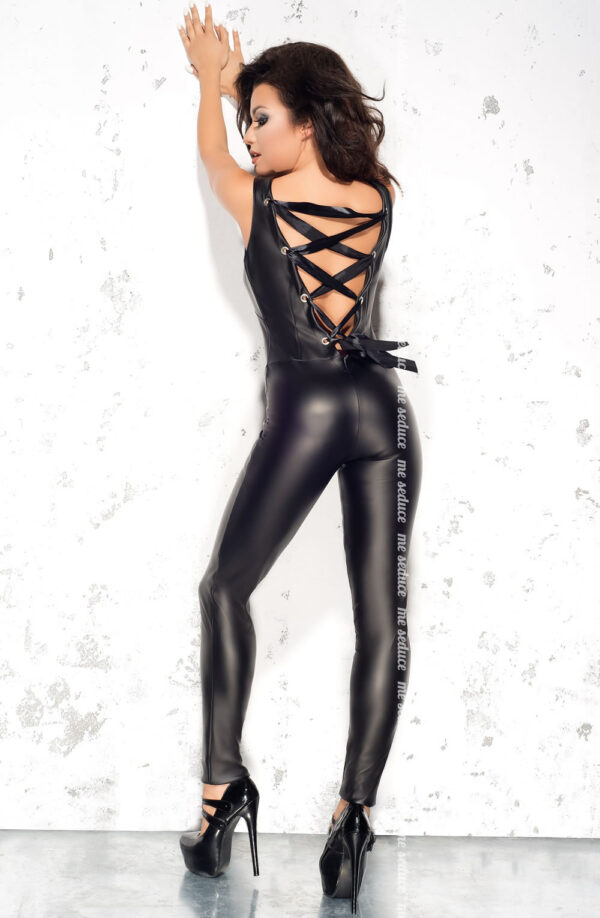 Faux Leather Lace Up Back Catsuit