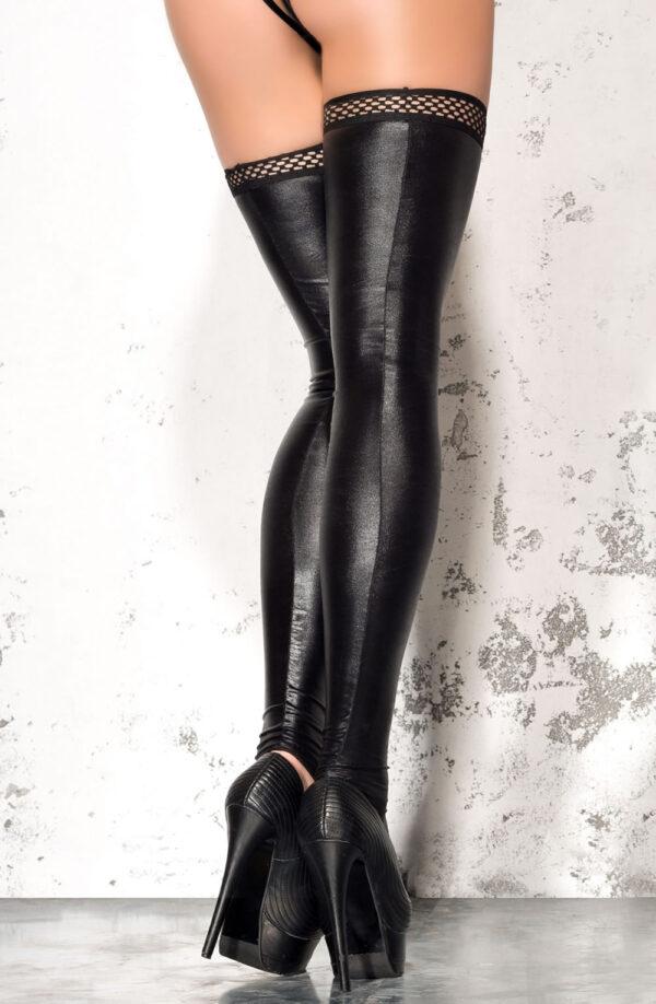 Black Wet Look Footless Stockings