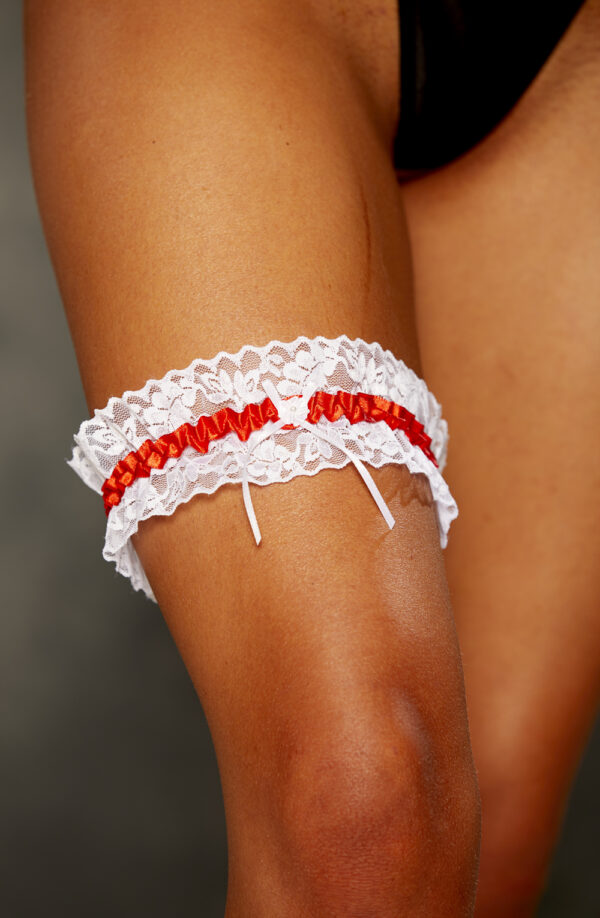 Red Satin & Lace Garter