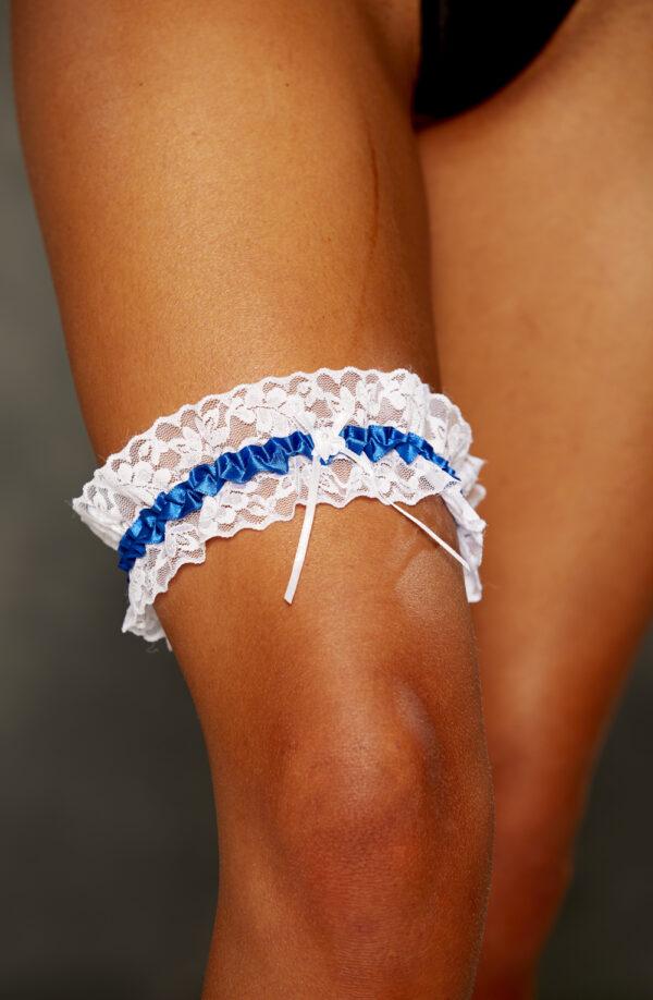 Royal Blue Satin & Lace Garter